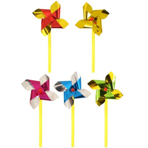 Assorted Colours Mini Foil Windmill On Stick - 7cm Small Garden Toy Henbrandt